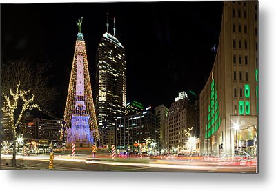 Christmas At Monument Circle Metal Print