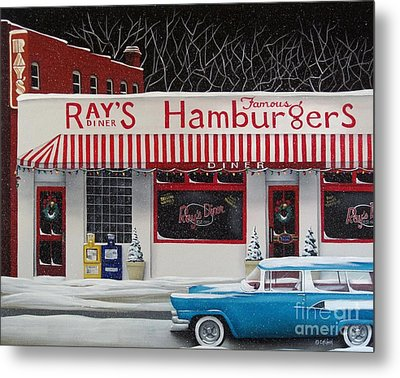 Christmas At Ray's Diner Metal Print by Catherine Holman