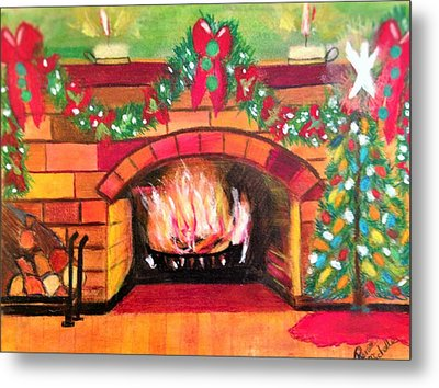 Christmas At The Cabin Metal Print