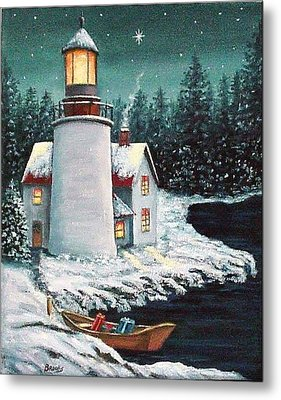 Christmas At The Light Metal Print by Fran Brooks