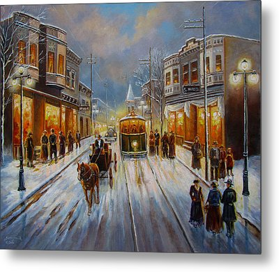 Christmas Atmosphere In A Small Town America In 1900 Metal Print by Regina Femrite