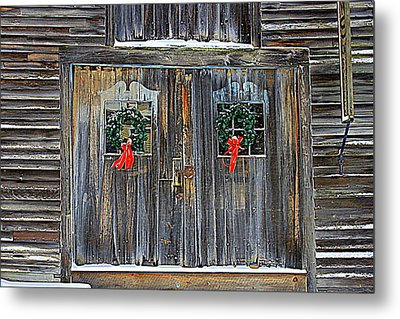 Christmas Barn Doors Metal Print