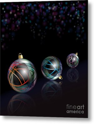 Christmas Baubles Reflected Metal Print by Jane Rix