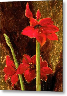 Metal Print featuring the painting Christmas Beauty by Vic  Mastis
