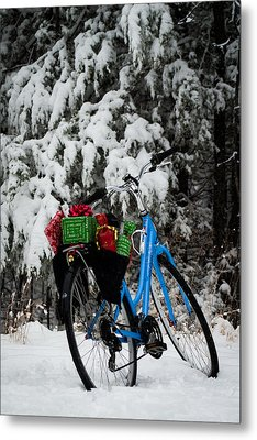 Christmas Bike Metal Print by Wayne Meyer