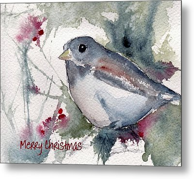 Metal Print featuring the painting Christmas Birds 01 by Anne Duke