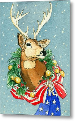 Metal Print featuring the painting Christmas Buck by Katherine Miller