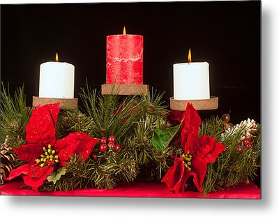 Christmas Candle Trio Metal Print by Kenneth Sponsler