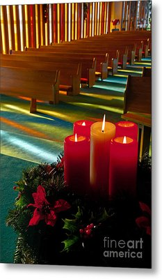 Metal Print featuring the photograph Christmas Candles At Church Art Prints by Valerie Garner