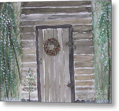 Christmas Card No.3 Rustic Cabin Metal Print