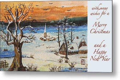 Christmas Card Painting Metal Print