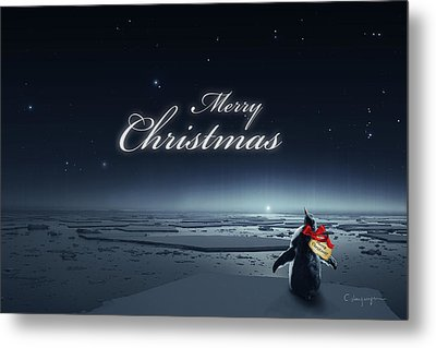 Christmas Card - Penguin Black Metal Print by Cassiopeia Art