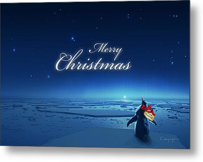 Christmas Card - Penguin Blue Metal Print by Cassiopeia Art