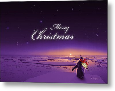 Christmas Card - Penguin Purple Metal Print by Cassiopeia Art