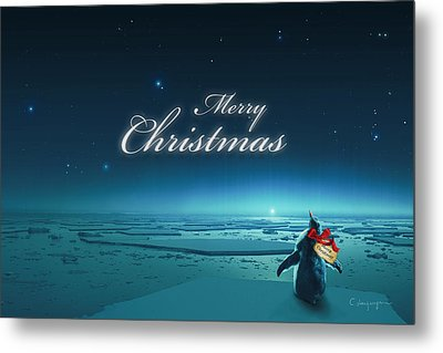 Christmas Card - Penguin Turquoise Metal Print by Cassiopeia Art