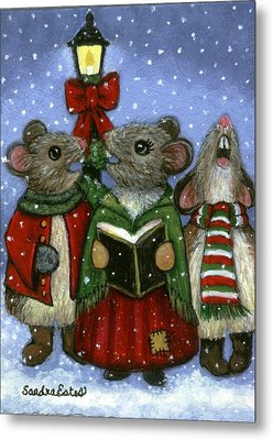 Metal Print featuring the painting Christmas Caroler Mice by Sandra Estes