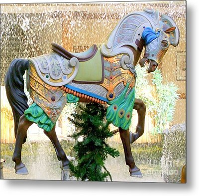 Christmas Carousel Warrior Horse-1 Metal Print by Mary Deal