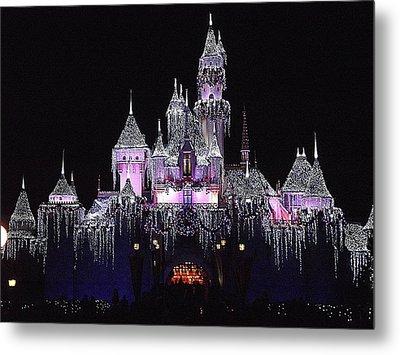 Christmas Castle Night Metal Print