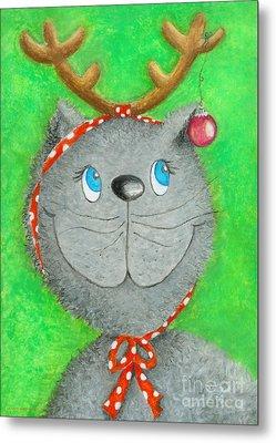 Christmas Cat Metal Print by Sonja Mengkowski