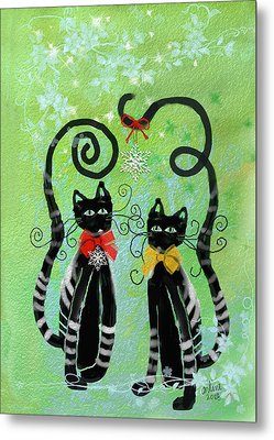 Christmas Cats Metal Print by Arline Wagner