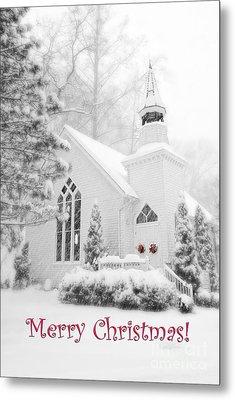 Historic Church Oella Maryland - Christmas Card Metal Print