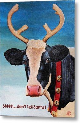 Christmas Cow Metal Print by Laura Carey