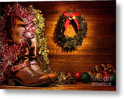 Christmas Cowboy Boots Metal Print by Olivier Le Queinec