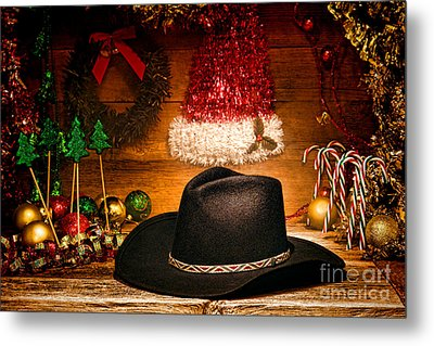 Christmas Cowboy Hat Metal Print by Olivier Le Queinec