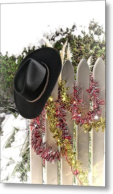 Christmas Cowboy Hat On A Fence Metal Print by Olivier Le Queinec