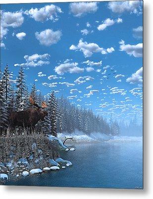 Christmas Day At Moose Lake Metal Print by Ken Morris