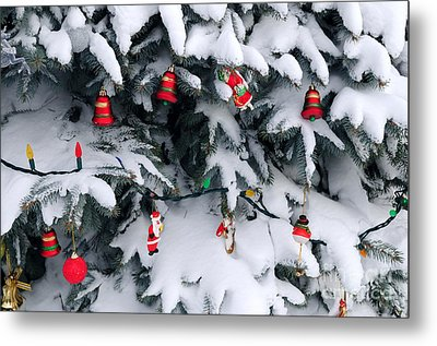 Christmas Decorations In Snow Metal Print by Elena Elisseeva