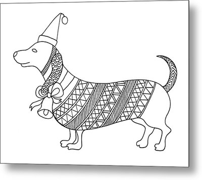 Christmas Dog Metal Print by Neeti Goswami