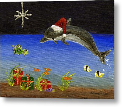 Christmas Dolphin And Friends Metal Print by Jamie Frier
