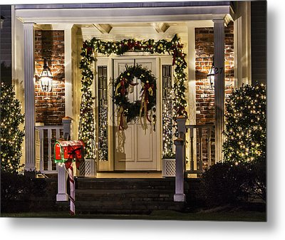 Metal Print featuring the photograph Christmas Door 1 by Betty Denise