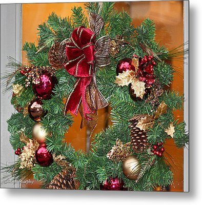 Metal Print featuring the photograph Christmas Door Wreath by Ann Murphy