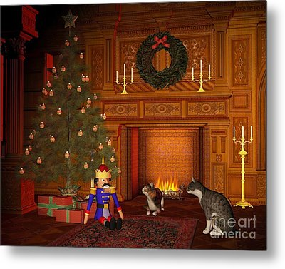 Christmas Eve Cats By The Fire Metal Print by Fairy Fantasies