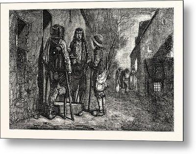 Christmas Eve In Britany 1854 Metal Print