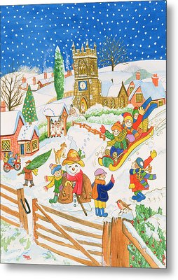 Christmas Eve In The Village Metal Print by Tony Todd