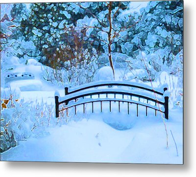 Christmas Eve Storm And The Little Garden Bridge Metal Print