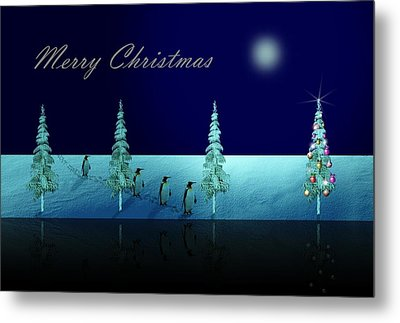 Christmas Eve Walk Of The Penguins  Metal Print by David Dehner