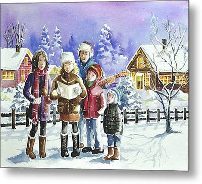 Christmas Family Caroling Metal Print