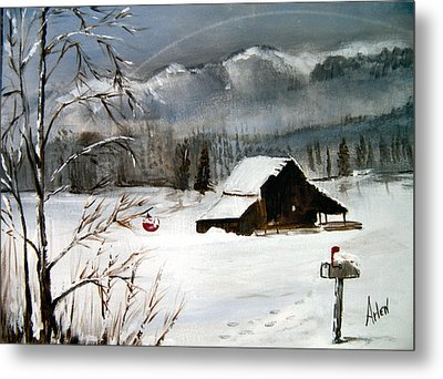 Christmas Farm House Metal Print