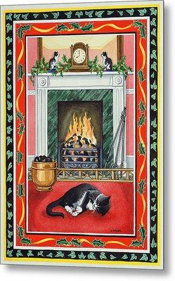 Christmas Fire Metal Print by Lavinia Hamer