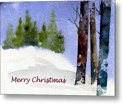 Metal Print featuring the painting Christmas Forest 02 by Anne Duke