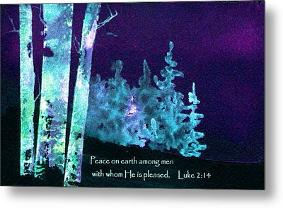 Metal Print featuring the painting Christmas Forest by Anne Duke
