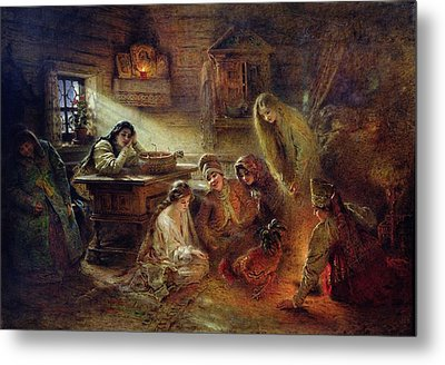 Christmas Fortune Telling Oil On Canvas Metal Print by Konstantin Egorovich Makovsky
