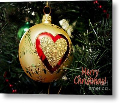 Christmas Gold Ball With Heart And Greeting Metal Print