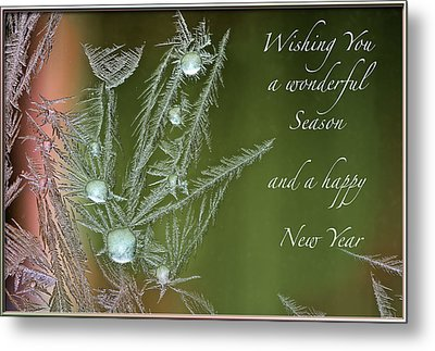 Metal Print featuring the mixed media Christmas Greeting Card Ice Flowers by Peter v Quenter