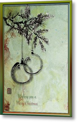 Metal Print featuring the painting Christmas Greeting Card With Ink Brush Drawing by Peter v Quenter