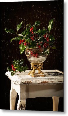 Christmas Holly Metal Print by Amanda Elwell
